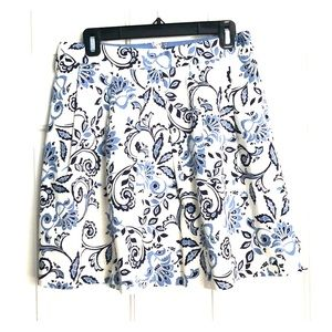 Navy, white, and blue LOFT pleated skirt